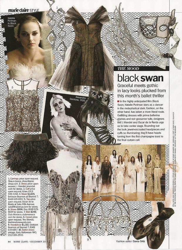 saw this spread on current fashions inspired by the Black Swan movie: